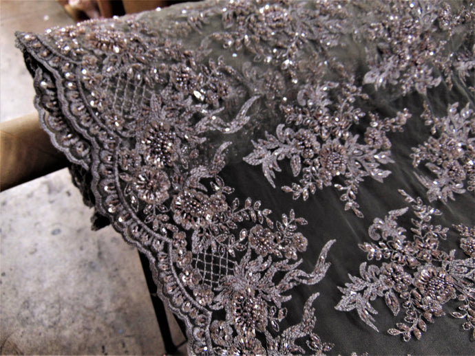 Gray/Mauve, High Society, Wedding Lace, Elaborate Floral Beading, High End 51