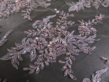 "Load image into Gallery viewer, Gray/Mauve, High Society, Wedding Lace, Elaborate Floral Beading, High End 51"", Wedding, Pagaent, Prom, Dancewear, Lingerie, Veil, Gowns"