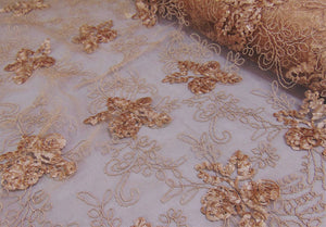 "Taupe Floral Ribbon Embroidered Scalloped Edge Tulle Mesh 50"" Wide 