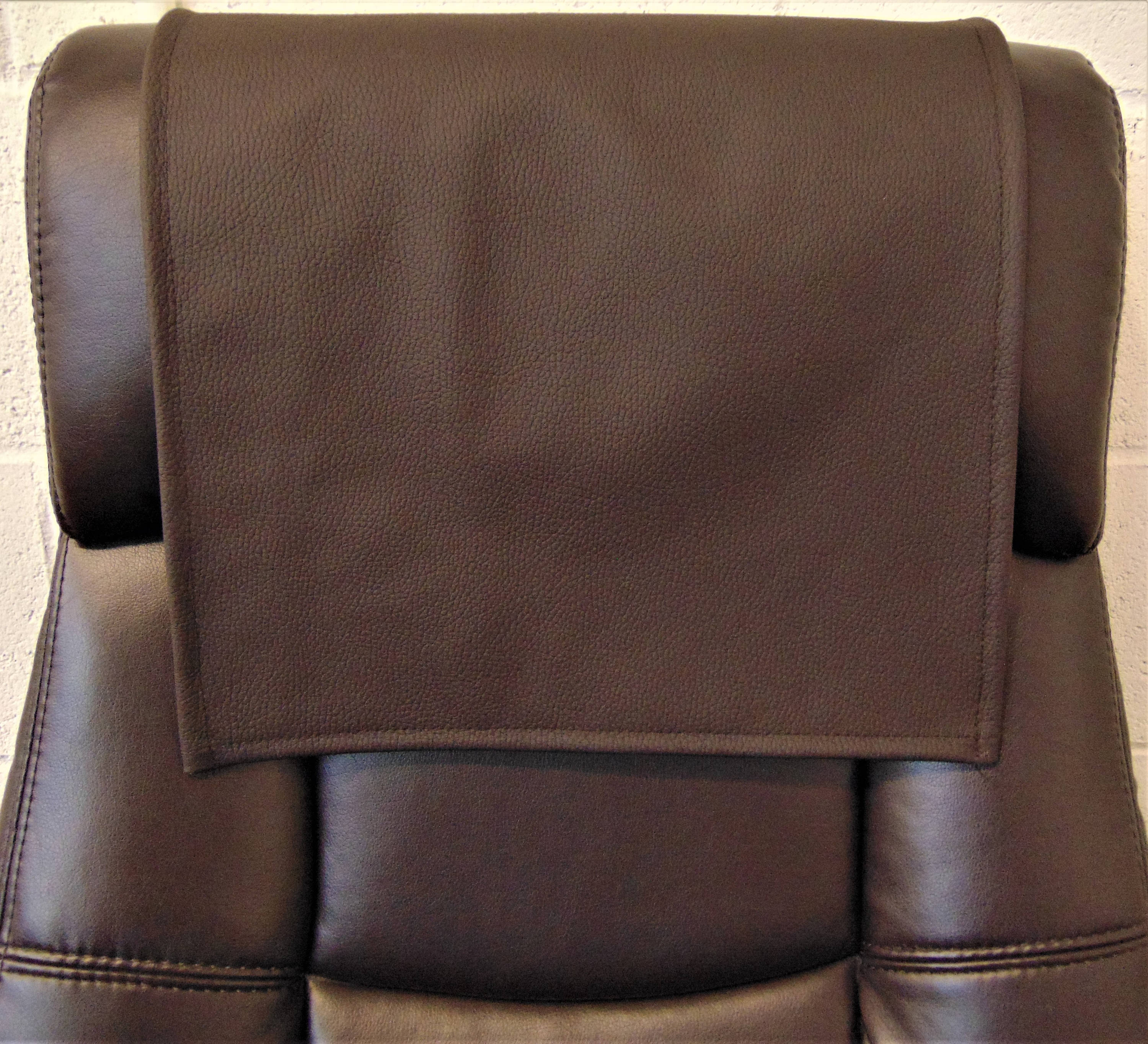 "Dark Brown Genuine Italian Leather 14""x30"" Recliner Furniture Protector Cover 