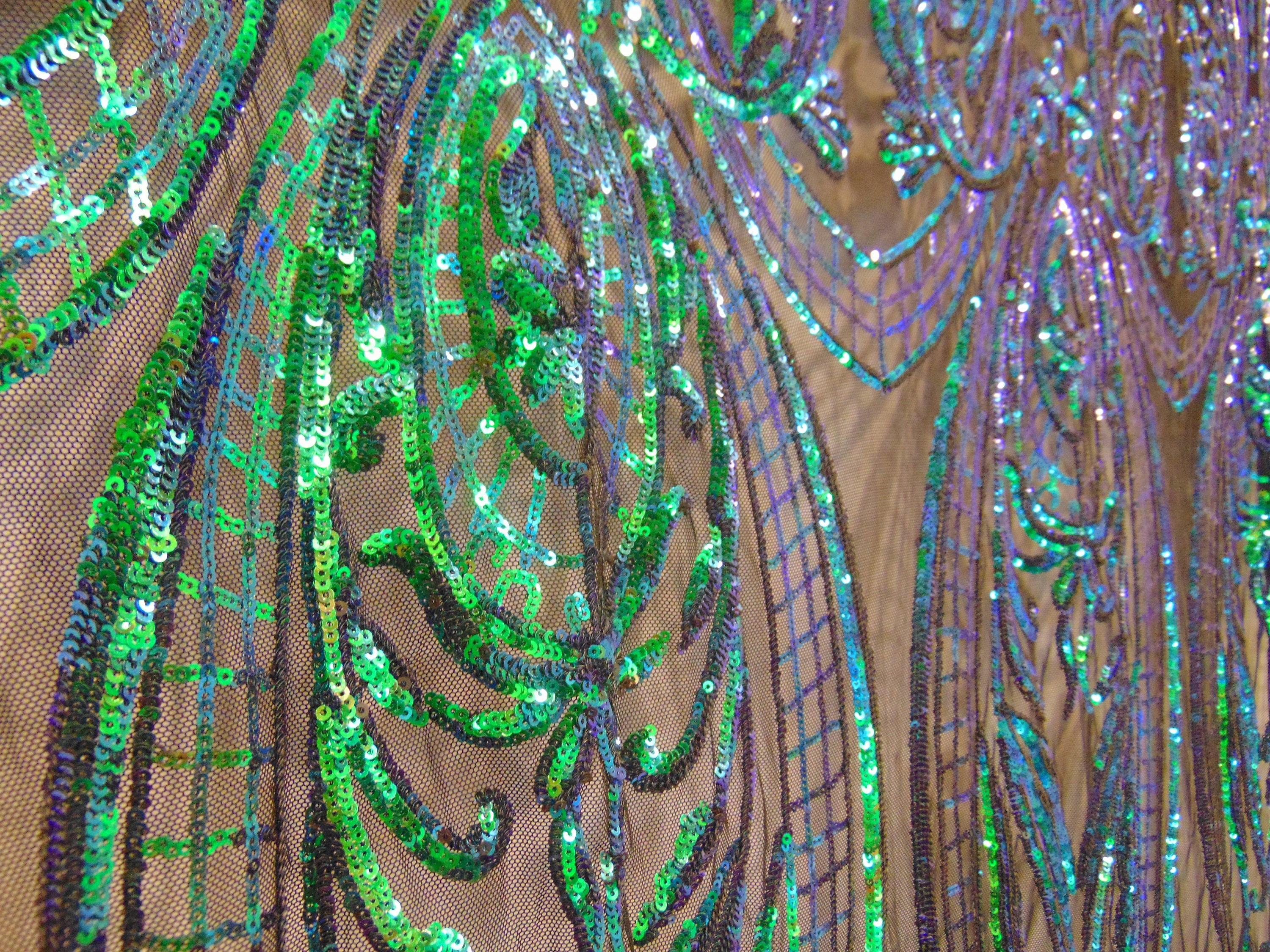 "Iridescent Green Black Mesh Victorian Egg Tulip Sequin Mesh 4-Way Stretch 55"" Wide 