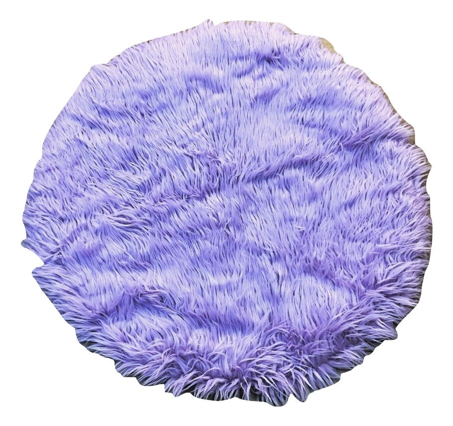 Lavender Faux Shaggy Sheepskin Round 3' Diameter Area Rug || Home Decor