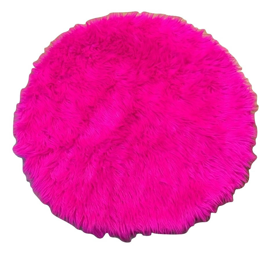Hot Pink Faux Shaggy Sheepskin Round 3' Diameter Area Rug || Home Decor