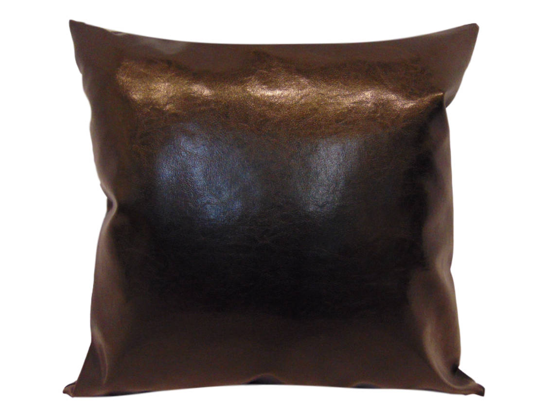 "Dark Brown Faux Leather 18""x18"" Pillow 