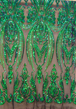 "Load image into Gallery viewer, Iridescent Green Black Mesh Victorian Egg Tulip Sequin Mesh 4-Way Stretch 55"" Wide 