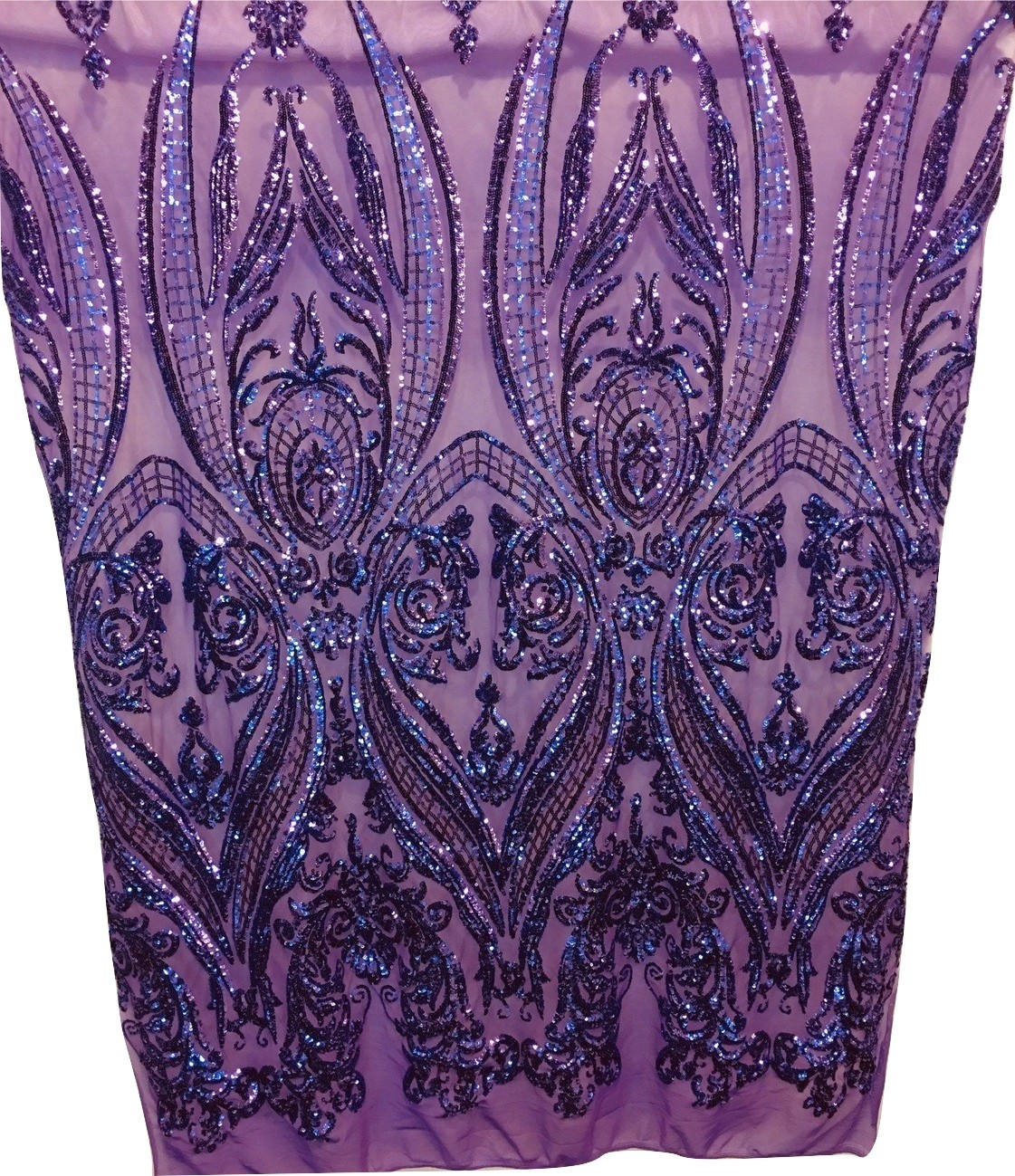 "Purple Victorian Egg Tulip Sequin Mesh 4-Way Stretch 55"" Wide 