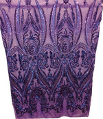 "Load image into Gallery viewer, Purple Victorian Egg Tulip Sequin Mesh 4-Way Stretch 55"" Wide 