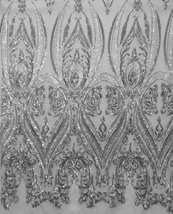 "Silver Victorian Egg Tulip Sequin Mesh 4-Way Stretch 55"" Wide 