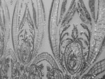 "Load image into Gallery viewer, Silver Victorian Egg Tulip Sequin Mesh 4-Way Stretch 55"" Wide 