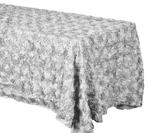 Silver Grandiose Rosette Tablecloth || Event Decor