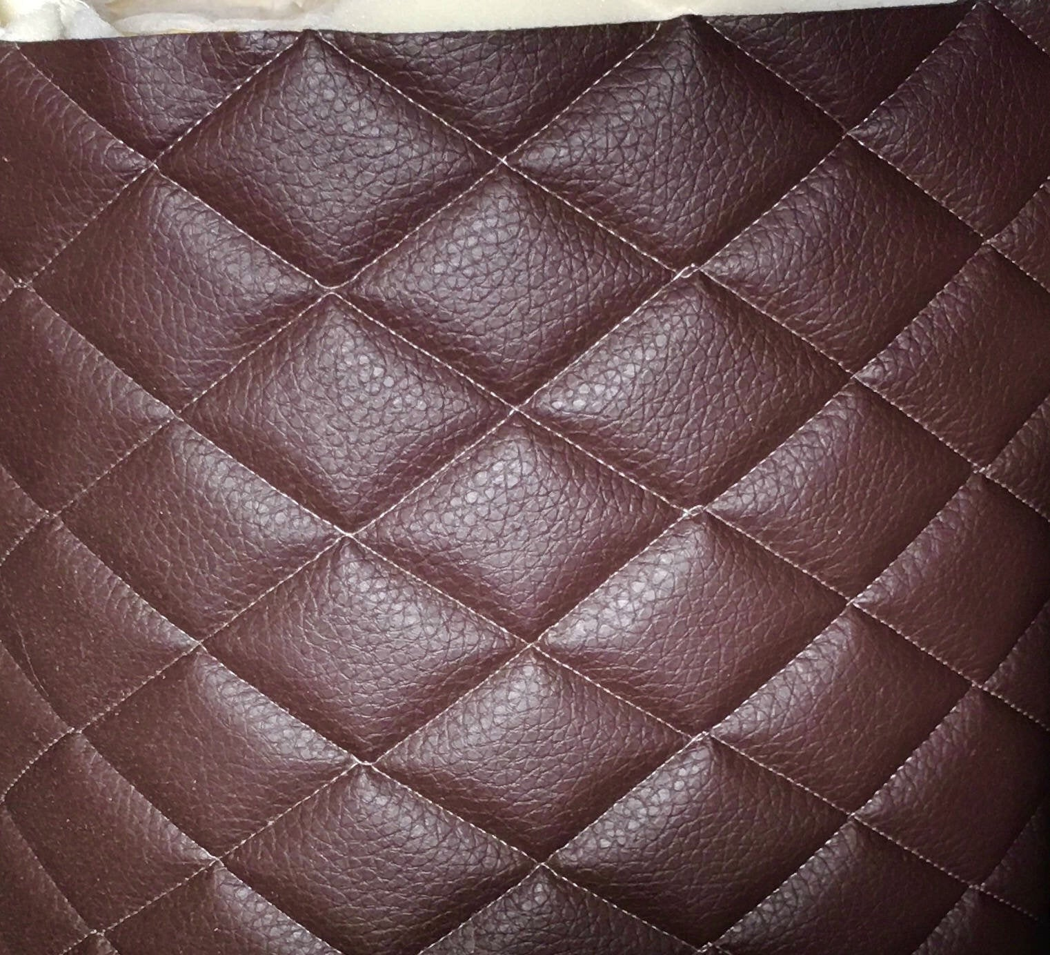 "Chocolate Diamond Quilted Faux Leather Vinyl 3/8"" Foam Backing 54"" Wide 