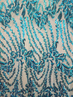 "Load image into Gallery viewer, Aqua Blue Nude SUTRA Sequin Stretch Mesh 55"" Wide 