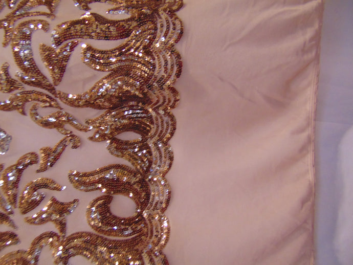 SUTRA , Rose Gold on nude mesh, Big Print, Sequin, 4-way Stretch, Fabric 55
