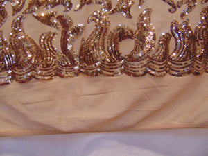 "Bronze Nude SUTRA Sequin Stretch Mesh 55"" Wide 