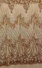 "Load image into Gallery viewer, Gold Eggnog SUTRA Sequin Strech Mesh 55"" Wide 