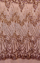 "Load image into Gallery viewer, SUTRA , Rose Gold on nude mesh, Big Print, Sequin, 4-way Stretch, Fabric 55"" Sold By the Yard, Wedding, Prom, Dresses, Lingerie, Pageant"