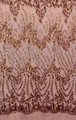 "Load image into Gallery viewer, Rose Gold Nude SUTRA Sequin Stretch Mesh 55"" Wide 