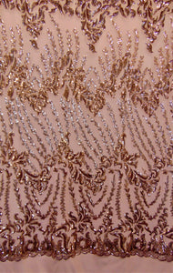 "SUTRA , Rose Gold on nude mesh, Big Print, Sequin, 4-way Stretch, Fabric 55"" Sold By the Yard, Wedding, Prom, Dresses, Lingerie, Pageant"