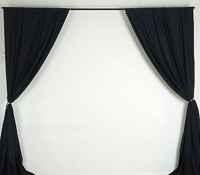 10 feet x 10 feet Black Polyester Backdrop Drapes Curtains Panels - Party Home