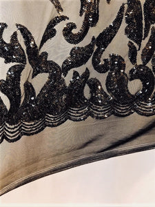 "Black Nude SUTRA Sequin Stretch Mesh 55"" Wide 