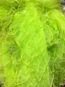 "Lime Sheer Ruffle Organza 58"" Wide 