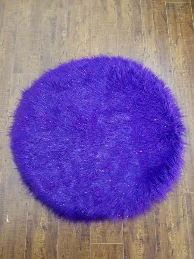 Purple Sparkle Faux Shaggy Sheepskin Round 3' Diameter Area Rug || Home Decor