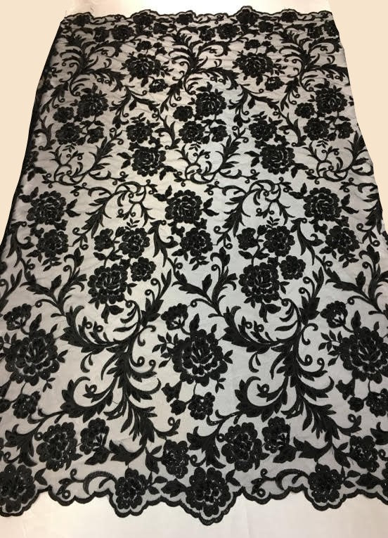 "Black Scalloped Beaded Edge Hand Lace 52"" Wide 