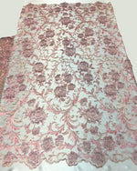 "Load image into Gallery viewer, Pink Beaded Scallop Edge Lace 52"" Wide 
