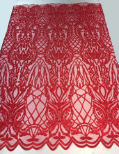 "Load image into Gallery viewer, BEADED scalloped Fabric by the yard, 52"" Wide Lace, RED , mesh, dress,"