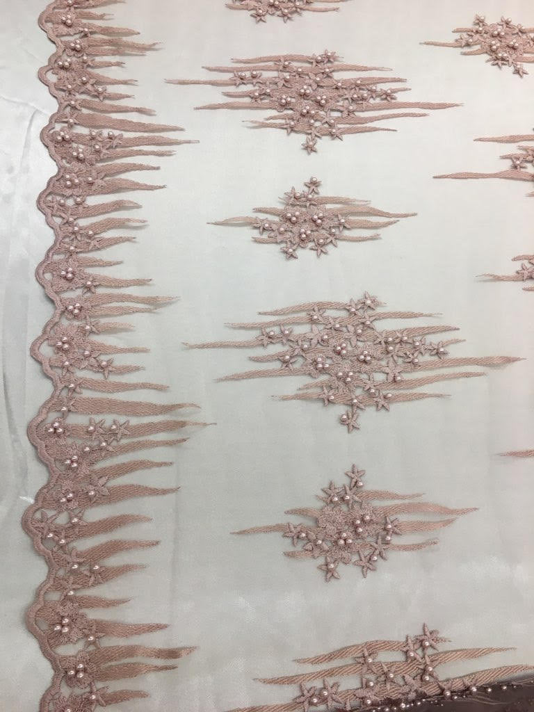 "Dusty Rose Scalloped Beaded Edge Hand Lace 52"" Wide 