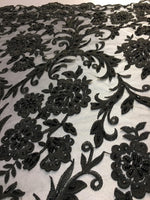 "Load image into Gallery viewer, Black Scalloped Beaded Edge Hand Lace 52"" Wide 