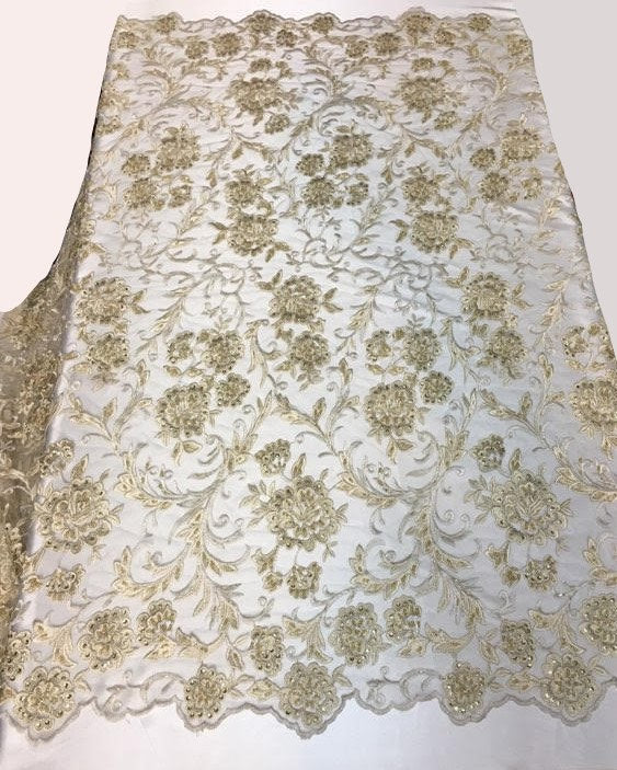 "Champagne Scalloped Beaded Edge Hand Lace 52"" Wide 
