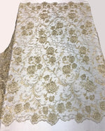 "Load image into Gallery viewer, Champagne Scalloped Beaded Edge Hand Lace 52"" Wide 