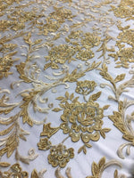 "Load image into Gallery viewer, Gold Scalloped Beaded Edge Hand Lace 52"" Wide 