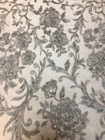 "Load image into Gallery viewer, Grey Scalloped Beaded Edge Hand Lace 52"" Wide 