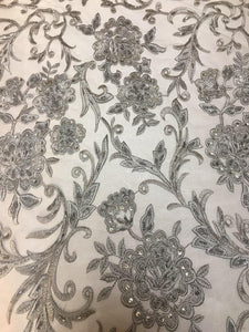 "Grey Scalloped Beaded Edge Hand Lace 52"" Wide 