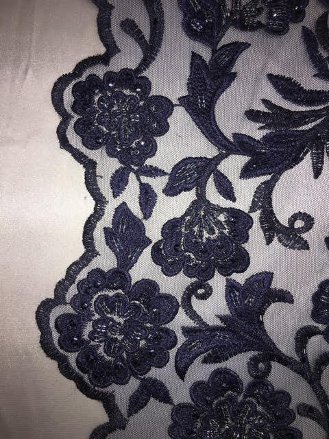 "Navy Scalloped Beaded Edge Hand Lace 52"" Wide 