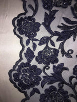 "Load image into Gallery viewer, Navy Scalloped Beaded Edge Hand Lace 52"" Wide 