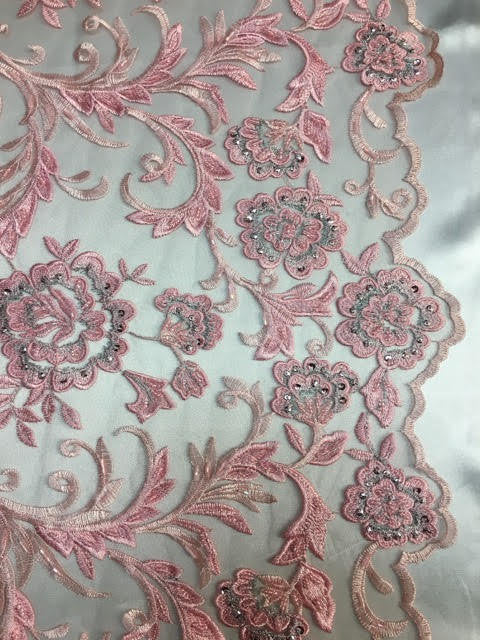 "Pink Beaded Scallop Edge Lace 52"" Wide 
