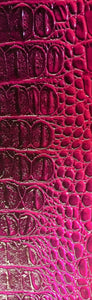 "Magenta Vinyl Leather Crocodile Nile  embossed Faux vinyl fake upholstery fabric sold per yard 55"" Wide"