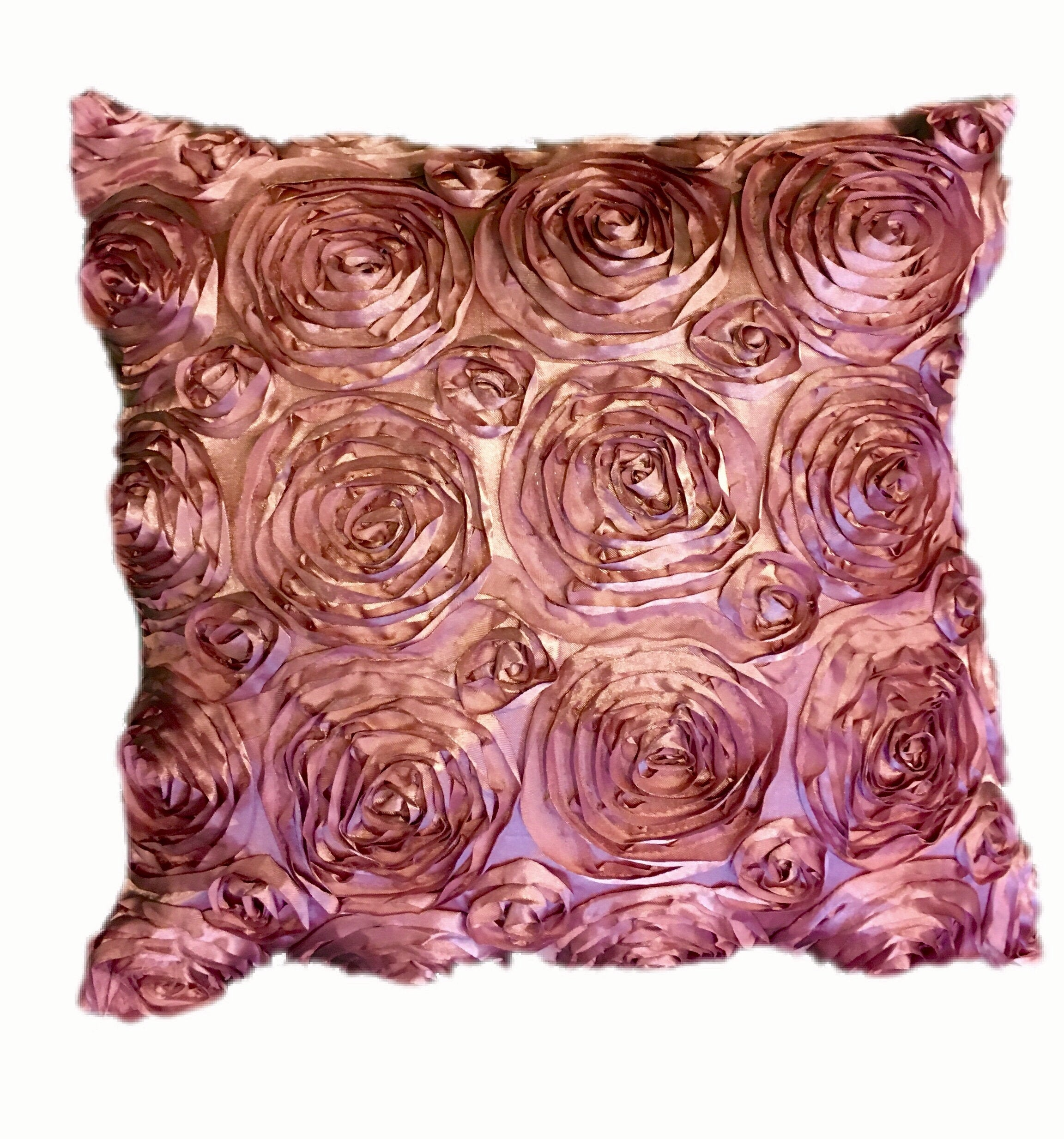 "Rosette Pair Embroidered Satin Decorative 18""x18"" Pillow 