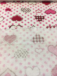 "Red and Pink Polka Dot Hearts 100% Cotton Flannel 45"" Wide 