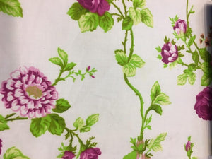 "Pink and Purple Garden Flower White Poly Cotton 60"" Wide 