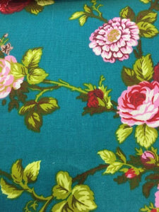 "Red and Pink Garden Flower Teal Poly Cotton 60"" Wide 