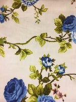 "Load image into Gallery viewer, Blue Garden Flower White Poly Cotton 60"" Wide 