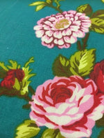 "Load image into Gallery viewer, Red and Pink Garden Flower Teal Poly Cotton 60"" Wide 