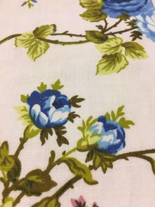 "Blue Garden Flower White Poly Cotton 60"" Wide 