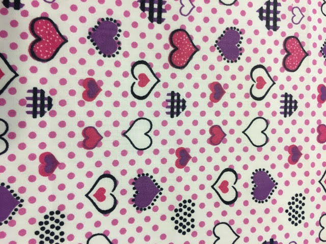 "Pink and Purple Heart Polka Dot Printed White Poly Cotton 60"" Wide 