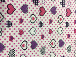 "Load image into Gallery viewer, Pink and Purple Heart Polka Dot Printed White Poly Cotton 60"" Wide 
