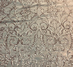 "Load image into Gallery viewer, Champagne Victorian Sweetheart Damask 4-Way Stretch Embroidered Sheer Sequin Lace 56"" Wide 